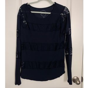 INC Lace Striped Long Sleeve Top